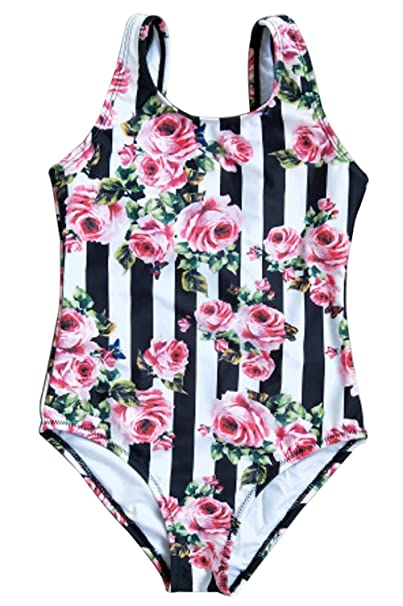 f121a47bbb Amazon.com: Kids Baby Girls Floral Striped One-Pieces Swimsuit Backless Bikini  Bathing Suits: Clothing