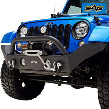 Jeep Wrangler Jk Front Bumper >> Eag Front Bumper With Fog Light Hole And Winch Plate Fit For 07 18 Jeep Wrangler Jk