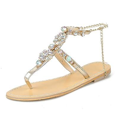 204baa255 Amazon.com | Thong Flats Sandals Women Ankle Strap Rhinestone Flip Flops  Metal Chain Slingback T-Strap Summer Outdoor Casual Beach Walking Shoes  Gold Silver ...