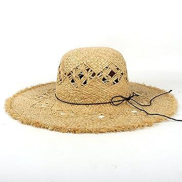 YINUO Gorras Sombreros Hechos a Mano de la Paja de la Rafia para Las  Mujeres Sombrero 5991cae3141