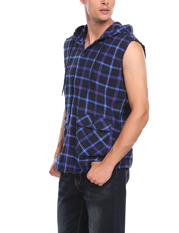 d781a69e16 Sleeveless Plaid Shirt Mens