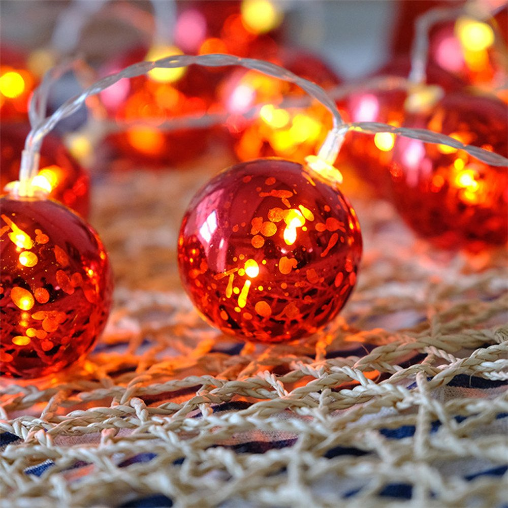 H+K+L Red Ball LED Home Decorated String Lights with Battery Box, Lamp String Suitable for Christmas Celebration, Wedding, Party (3M 20LED)