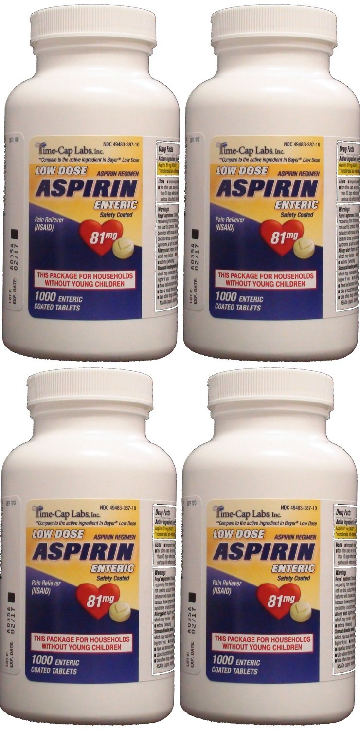 Aspirin Adult Low Dose Enteric Coated 81 mg Generic for Bayer Aspirin Low Dose 1000 Tablets Per Bottle Pack of 4 by Time Cap Labs