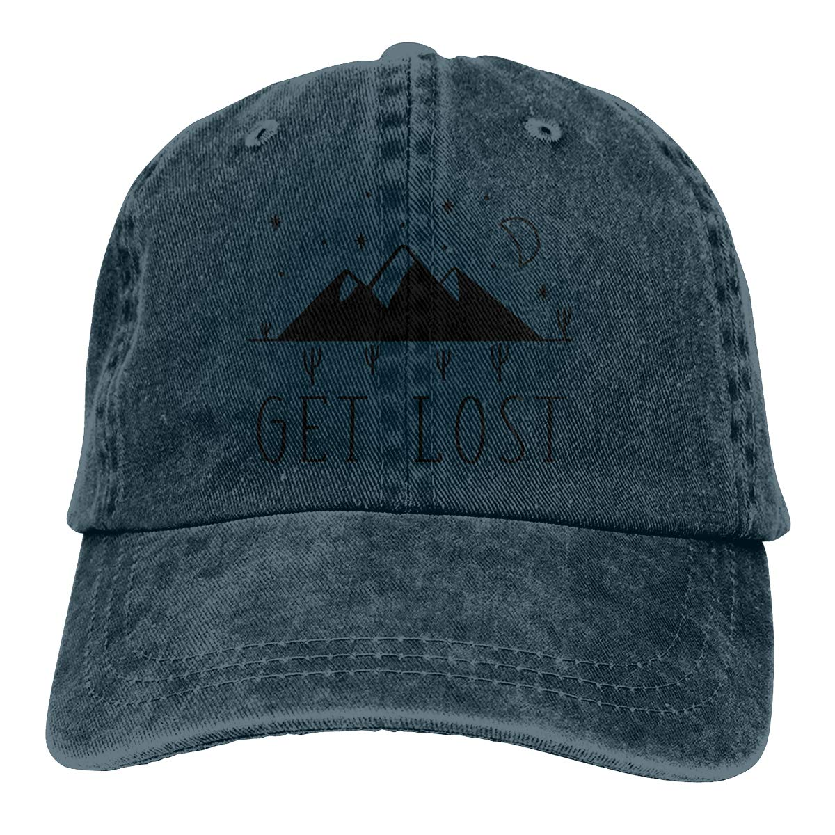 44eabd132310c Get Lost - Mountains Denim Hats Adjustable Baseball Cap Dad Hats at Amazon  Men s Clothing store