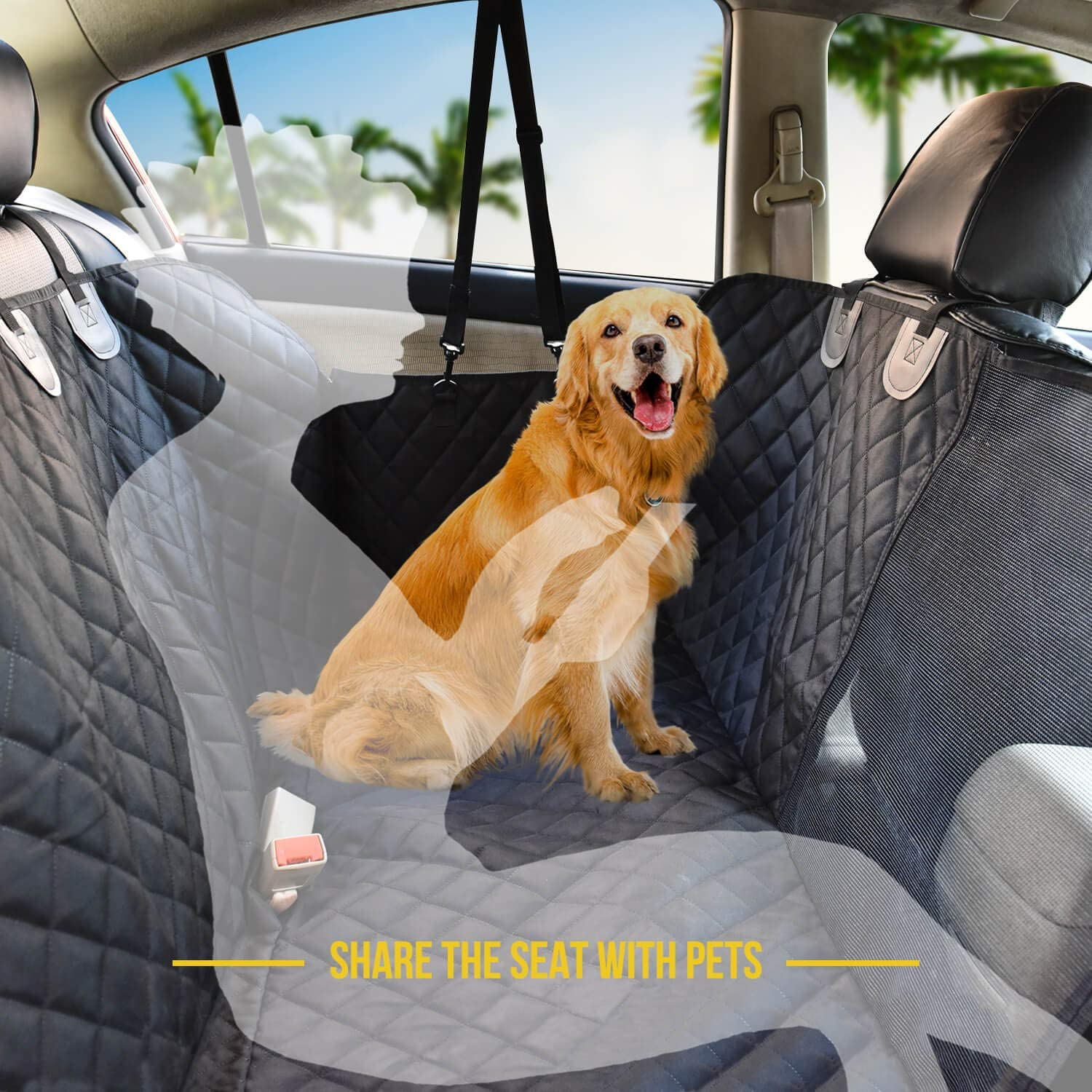 Dog Car Seat Cover Hammock With Mesh Window For Backseat - Forevermily