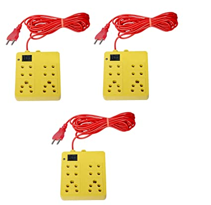 NXTPOWER 6 Socket Surge Protector  Yellow   Pack of 3