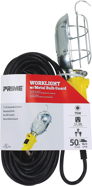 25-Feet Prime TL010625 16//3 SJTW Metal Guard Work Light