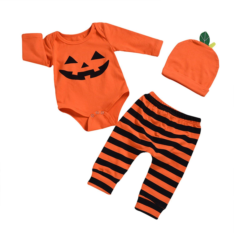 BELS Newborn Baby Girl Boy Halloween Clothes Set Pumpkin Romper Top + Pants with Hat Outfits Kids Clothing (Orange, 0-6m(70))