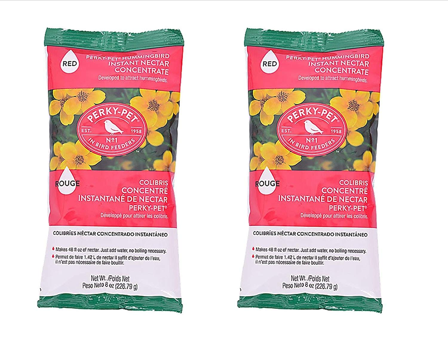 Perky-Pet 2 Pack Instant Hummingbird Nectar Concentrate Each Pack Makes 48oz