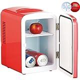 Rosenstein & Söhne Dosen Kühler: Mini-Kühlschrank mit Warmhalte-Funktion, 4 Liter, für 12/230 Volt, rot (Kleiner Kühlschrank)