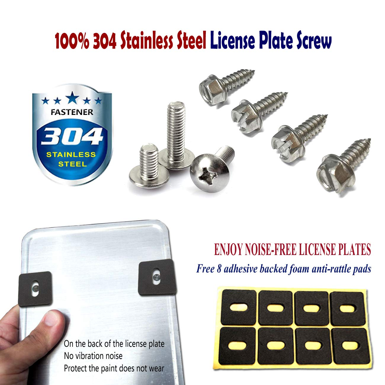 PUQIN-AUTO License Plate Anti Theft Screws Stainless Steel License Plate Frame Screws Tamper Resistant Fasteners Security Screws for Protection License Plates on Cars Trucks Set of 8