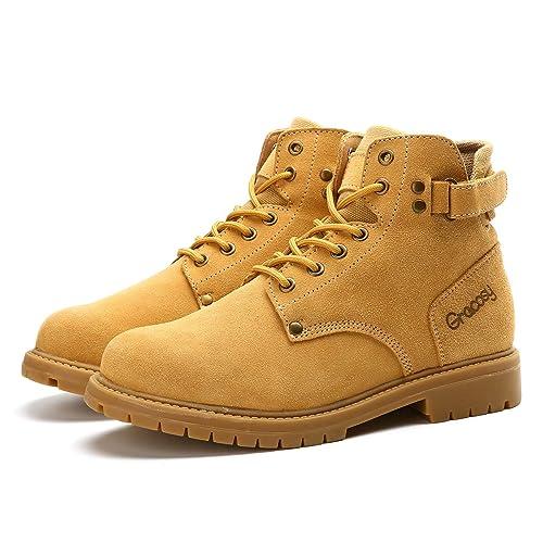 gracosy Botas Militares Seguridad para Hombres Ante De La Vaca Botas De Eguridad Nieve Zapatos De
