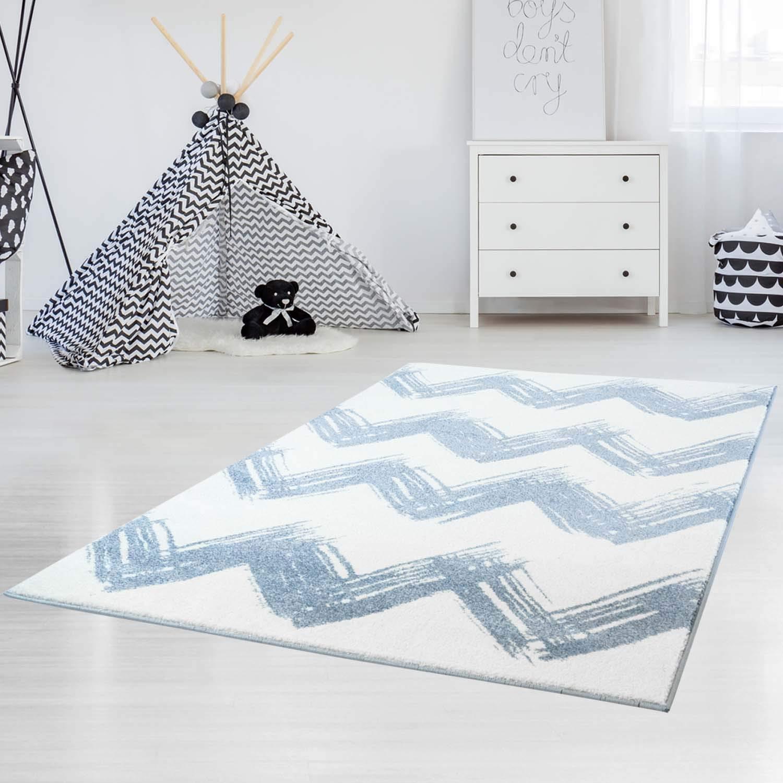 Carpet city Kinder- und Jugendteppich Hochwertig Bueno mit Zickzack-Muster Chevron in Blau, Weiß, Grau mit Glanzgarn für Kinder- und Jugendzimmer Größe 160 230 cm
