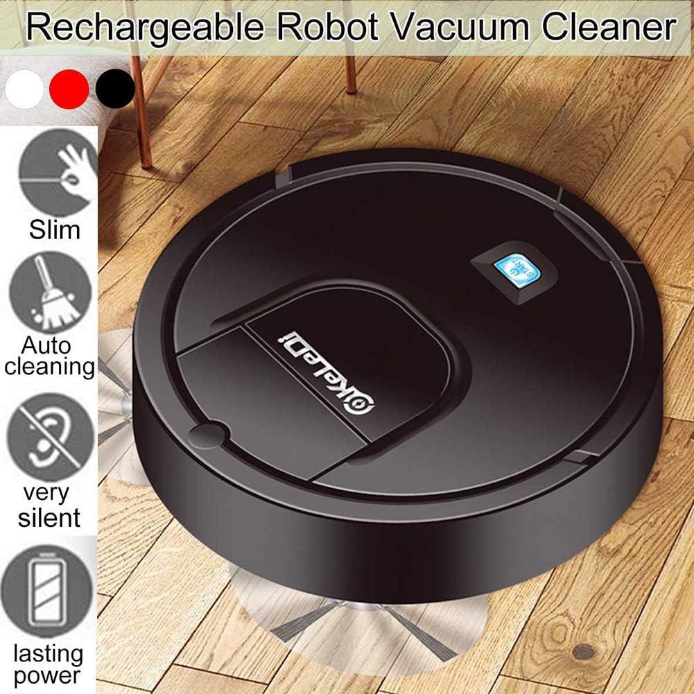 Wenhua Aspirateur Robot Domestique, Dragueur/Aspiration Multifonction Automatique Intégré, Collecteur De Poussière Rechargeable USB,Noir Black