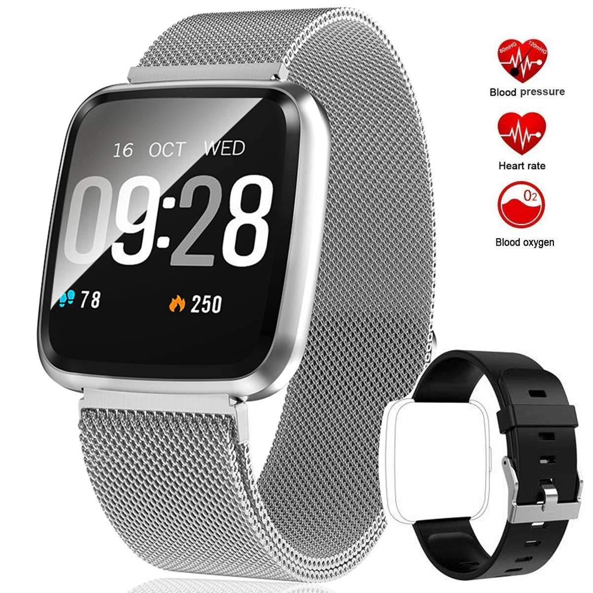 feifuns Smart Watch, Fitness Activity Tracker Watch with Heart Rate Monitor, IP67 Waterproof Fit Watch with Calorie Counter, Smart Fitness Band with Sleep Monitor, Pedometer Watch