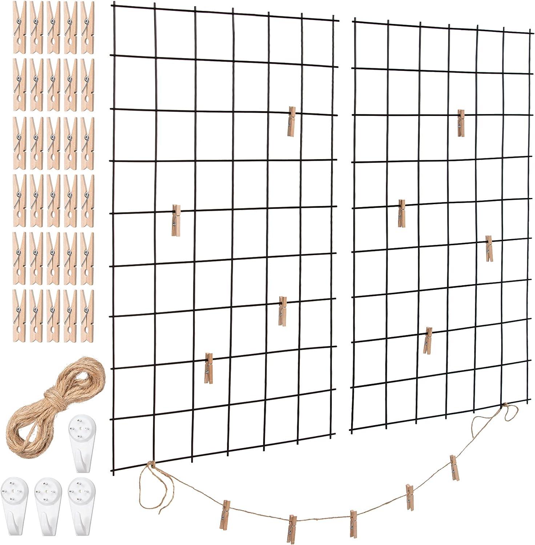 Wall Grid 2 Pack Wire Photo Grid Panels Black Memo Board Wall Organizer Photo