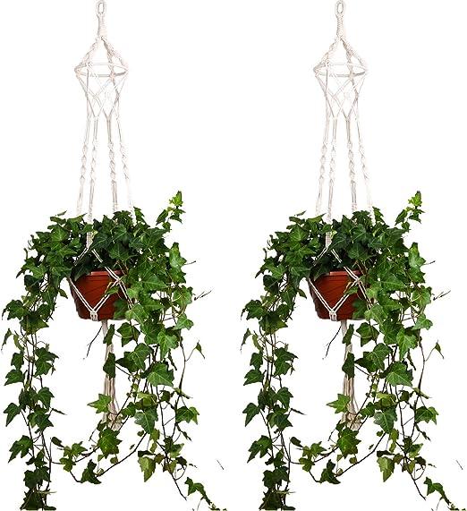 ThreeH Macrame Plant Hanger 4 Patas Algodón Tejido Colgante Soporte de Planta Plant Pot Stand Ideal para Interior al Aire Libre Inicio Decoración de cumpleaños 2 Pack: Amazon.es: Hogar