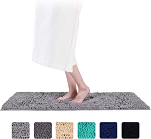 Smiry Luxury Chenille Bath Rug, Extra Soft and Absorbent Shaggy Bathroom Mat Rugs, Machine Washable, Non-Slip Plush Carpet Runner for Tub, Shower, and Bath Room(16'' x 47'', Neutral Gray)