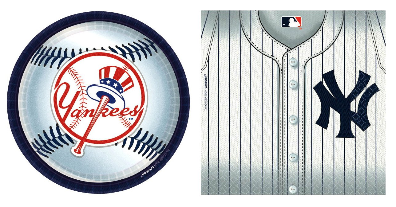 MLB Party Bundle: One Pack of 18 9'' Plates and One Pack of 36 Napkins (New York Yankees)