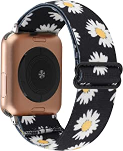 YOSWAN Stretchy Nylon Solo Loop Strap Compatible with Apple Watch Band 38/40mm Soft Breathable Adjustable Elastic Women Wristband for iWatch SE Series 6 5 4 3 2 1 (Floral Daisy, 38mm / 40mm)