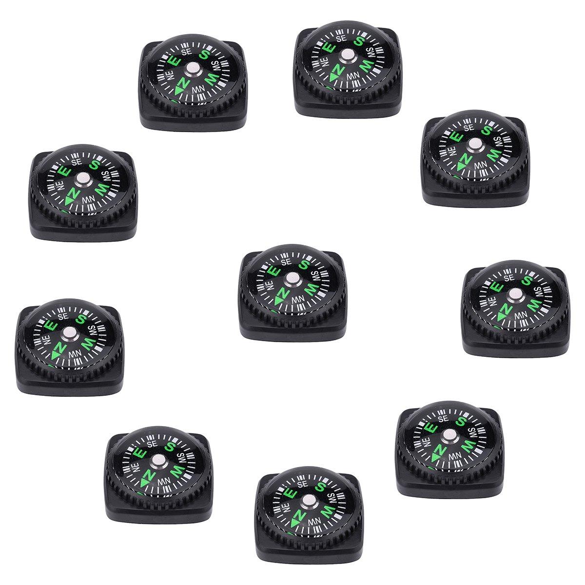 10パックハードシェル液体Filled Miniボタンコンパスセットfor Survival Watch Bandパラコードブレスレット B078PFN12H