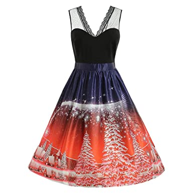 Vintage Women Christmas Print Dress V-Neck Sleeveless Lace Mesh Evening Party Dresses A-