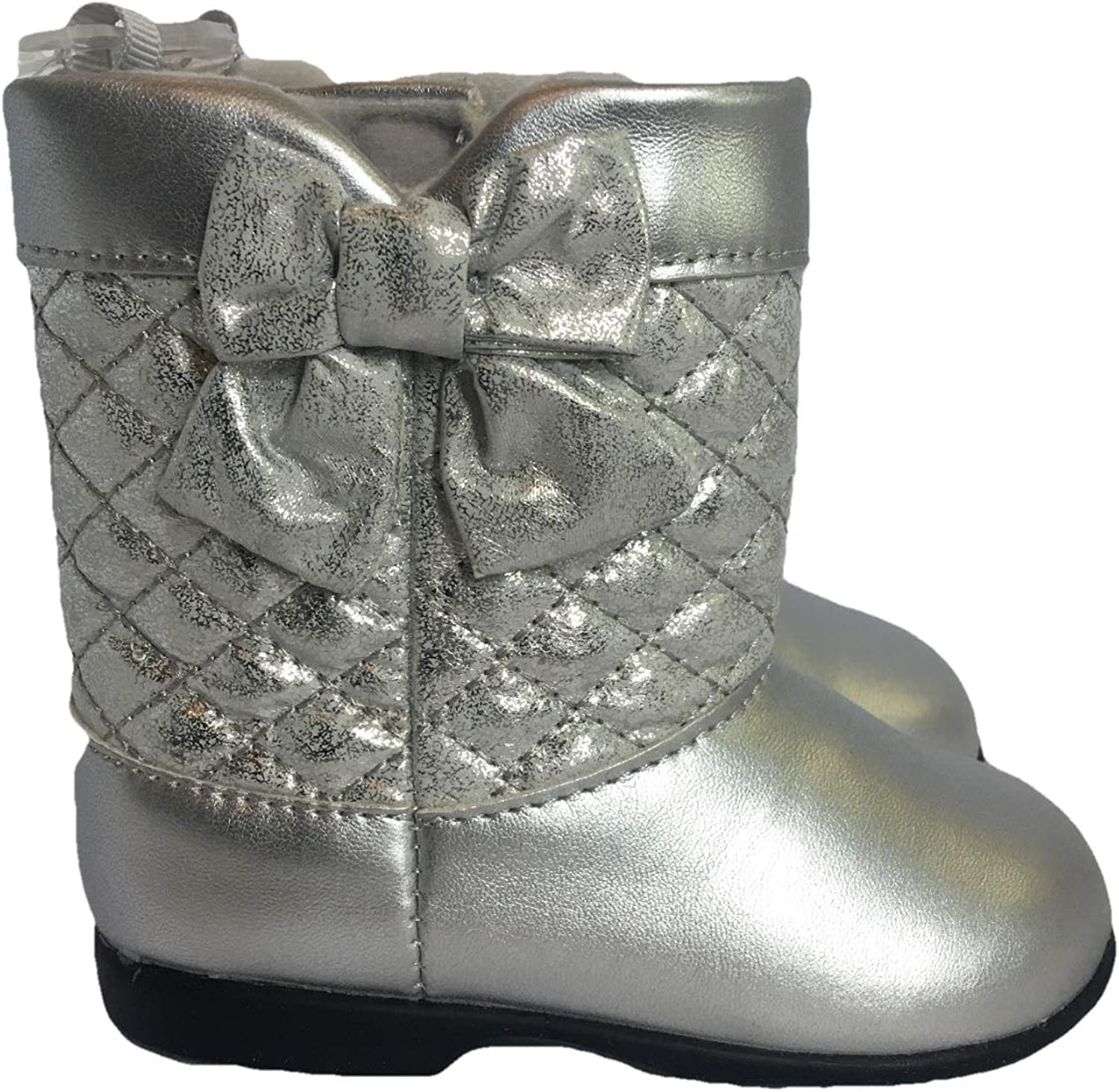 Baby Deer Size 4 9-12 Months Walking Stage Girls Boots Silver Metallic