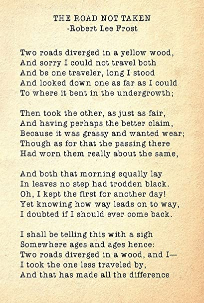 size 40 f70b0 1d546 Alter Ego The Road Not Taken By Robert Frost, Famous Inspirational Poem  Wall Poster (Recycled Material, 18.5x12.5-inch, Multicolour)  Amazon.in   Home   ...