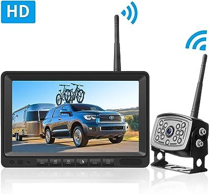 Leekooluu Hd Digital Wireless Backup Camera 7 Monitor Highway Observation System For Rvs Travel Trailers Trucks Motorhome Mirror Facing Image Flip