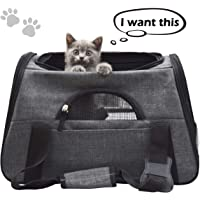 FRUITEAM Soft Side Pet Carrier Travel Bag, 46cmL×26cmW×28cmH Airline Approved Tote Bag Medium Sized Cats Rabbits Handbag Small Dogs Up to 15lbs, Pet Travel Carrier Comes Shoulder Strap, Safety Buckle Zippers