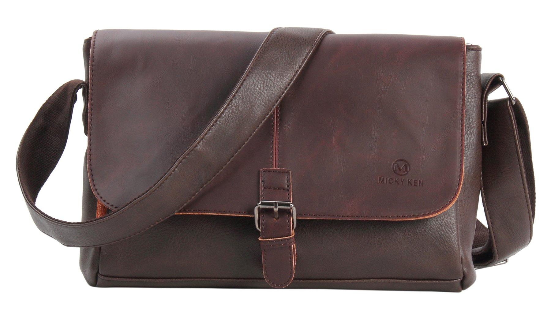 HONEYJOY Men's Vintage PU Leather Messenger Bag Satchel Shoulder Laptop Bags Business Working Bag Coffee