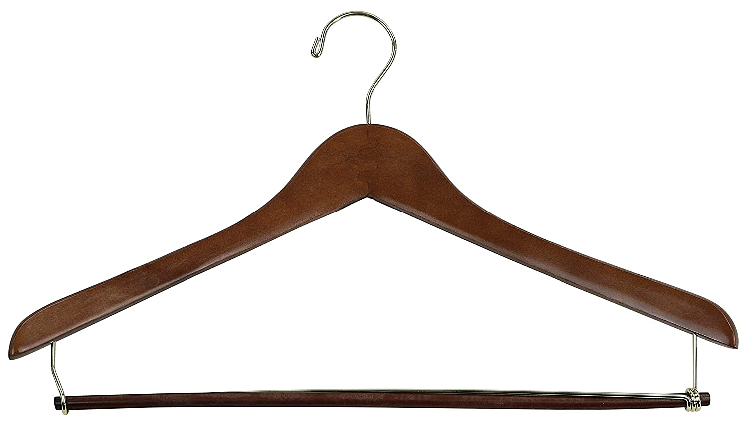 Iconikal 17-Inch Contoured Wood Suit Hanger with Pant Bar 10-Pack Walnut