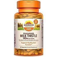 Milk Thistle by Sundown, Supports Healthy Liver Function, 80% Silymarin, Non-GMO,, Free of Gluten, Dairy, Artificial…
