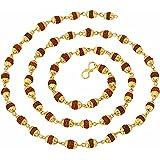 Purplestones Rudraksha Mala 27 Inch Premium 24K Yellow Gold Plated Copper Mala
