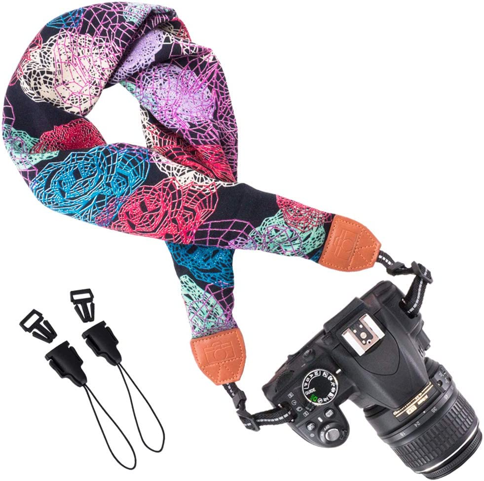 Wolven Soft Scarf Camera Neck Shoulder Strap Belt Compatible with All DSLR/SLR/Digital Camera (DC) / Instant Camera/Polaroid Etc,Multicolor