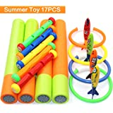 heytech 17 Pack Dive Pool Toys Blaster Foam Water Gun Torpedo Dive Rings and Diving Sticks Pool Dive Toy Set