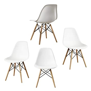 DuraComf Beechwood Dining Chairs (White, Standard Size) -Set of 4