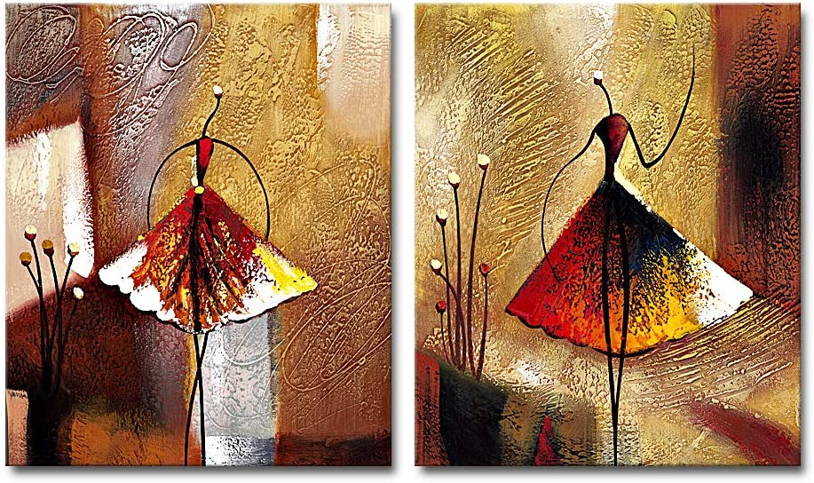 Wieco Art Ballet Dancers 2 Piece Modern Decorative Artwork 100 Hand Painted Contemporary Abstract Oil Paintings On Canvas Wall Art Ready To Hang For Home Decoration Wall Decor Amazon Co Uk Kitchen