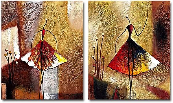 20x24inchx2pcs pintura al /óleo abstracta 100/% pintada a mano en lienzo Framed lona Wieco Art 2 piezas de arte moderno y decorativo de ballet listo para colgar para decoraci/ón del hogar