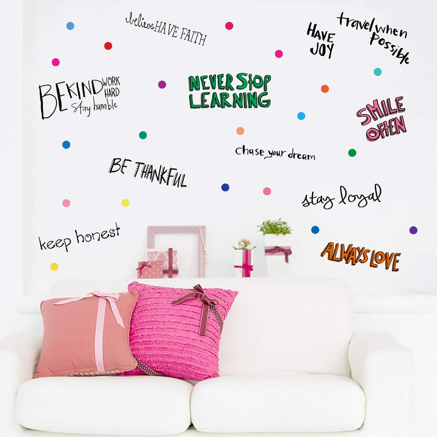 PARLAIM Inspirational Wall Decals Motivational Phrases Sticker Wall Decals Quotes Removable Decals for Kids Home Decoration Living Room Bedroom, Positive Sayings Window Cling Decor and Classroom