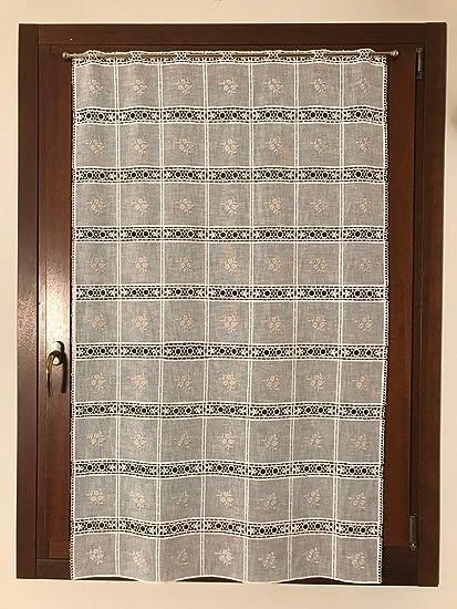 Tende A Vetro Bianche.Mauro Tende Per Finestra E Porta Confezionate Tende A Vetro Tessuto Ricamato E Macrame Larghezza Cm 50 85 Bianco Bxh Cm 50x65