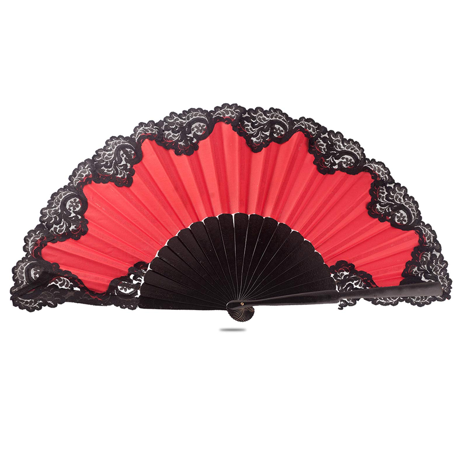 Ole Ole Flamenco Spanish Hand Fan Red Pericon with lace Black Large 13 inch 33 cm Handmade Made of Wood and Fabric Abanicos Españoles Rojo Blonda Negra by Ole Ole Flamenco