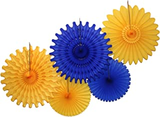 product image for 5-Piece Tissue Paper Fans, Dark Blue Gold Party