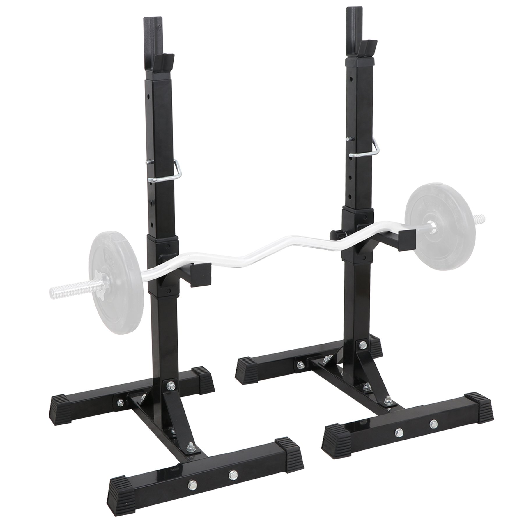F2C Max Load 550Lbs Pair of Adjustable 41''-66'' Rack Sturdy Steel Squat Barbell Bench Press Stands GYM/Home Gym Portable Dumbbell Racks Stands by F2C