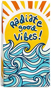 Lavley Funny Decorative Colorful Accent Kitchen Dish Towels, 100% Cotton, 28 x 21 inch (Good Vibes)