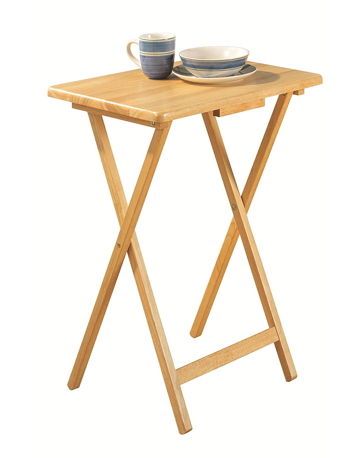 PJ Wood 5-piece Folding TV Tray Snack Table – Natural