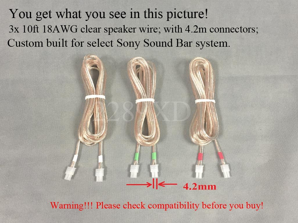 3x 10ft Speaker Wires Cables Cords For Select Sony Sound Bar Wiring Diagram System Ht Ct150 Ct350 Ct500 Etc 18 Awg Wire 42mm Connector Plug 3 Pcs
