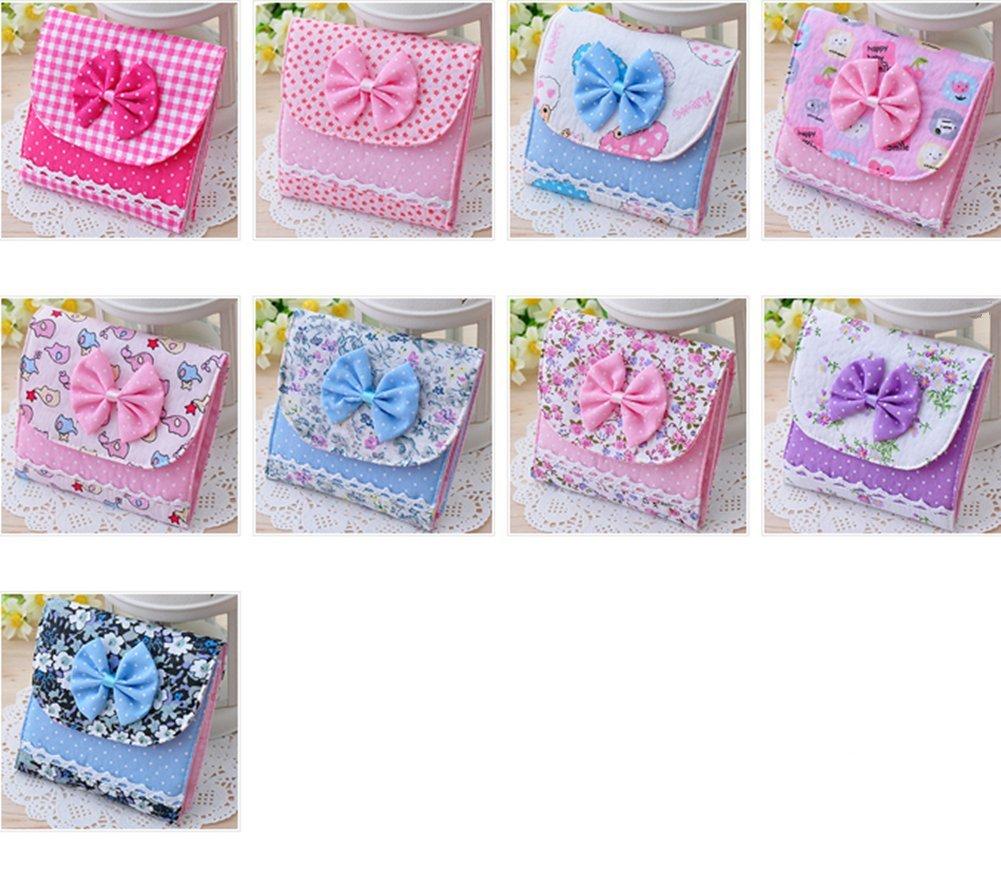 Distinct® 2pcs toallas sanitarias de la muchacha que lleva el bolso colorido del algodón pequeños artículos Gather bolsa del bolso del color al azar: ...