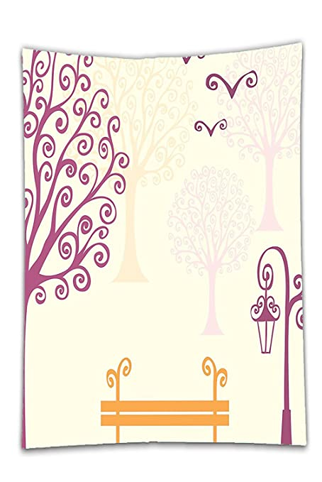Interestlee Satin Drill Tablecloth?Farm House Decor Pastel Color Nature  Picture Curving Lines Seagulls Bench