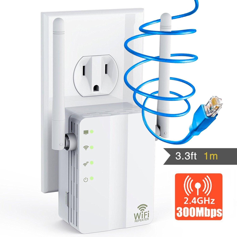 Yakalla WiFi Extender/2.4Ghz WiFi Range Extender/WiFi Signal Booster with Ethernet Port Long Range Extender- 360 Degree Full Coverage Up to 300 M